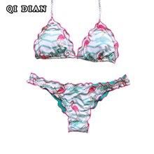 QI DIAN Sexy Printed Bikini 2017 Summer Swimsuit Women Bandage Bikini Set Push Up Bikinis Female Swimwear Brazilian biquinis Q32