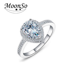 Moonso engagement Women  Delicate AAA CZ Diamond Pear Ring  Elegant  Bling  Dropshipping  LR603