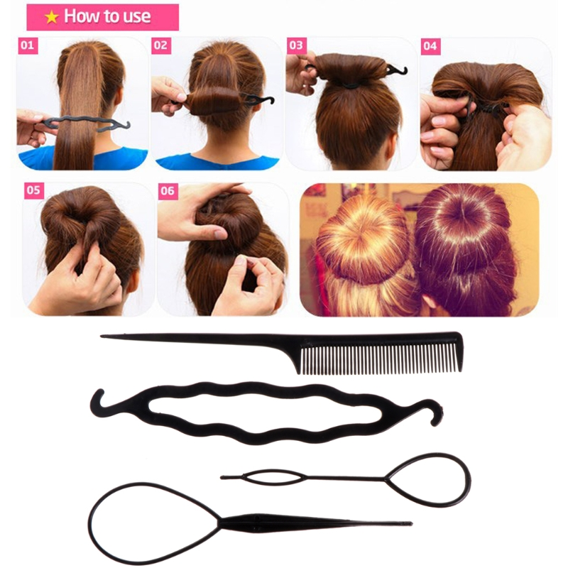 4Pcs Plastic Hair Loop Styling Hair Braiding Tools New Magic Topsy Tail Ponytail Hair Bun Maker Clip For Women Girls Hairstyles image