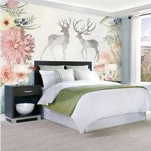 Пользовательские 3D печать DIY ткань и текстильные обои для стен ткань жаккард Лен для гостиной фрески цветок обои олень