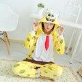 SpongeBob Mink Flannel Pajamas Men Women Siamese Sleepwear Thicken Adult Kids Lovers Warm Family Fitted Winter Animal Pajamas