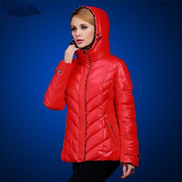Thick Women S Short Design Slim Cotton Padded Jacket Autumn And Winter Down Cotton Print Plus