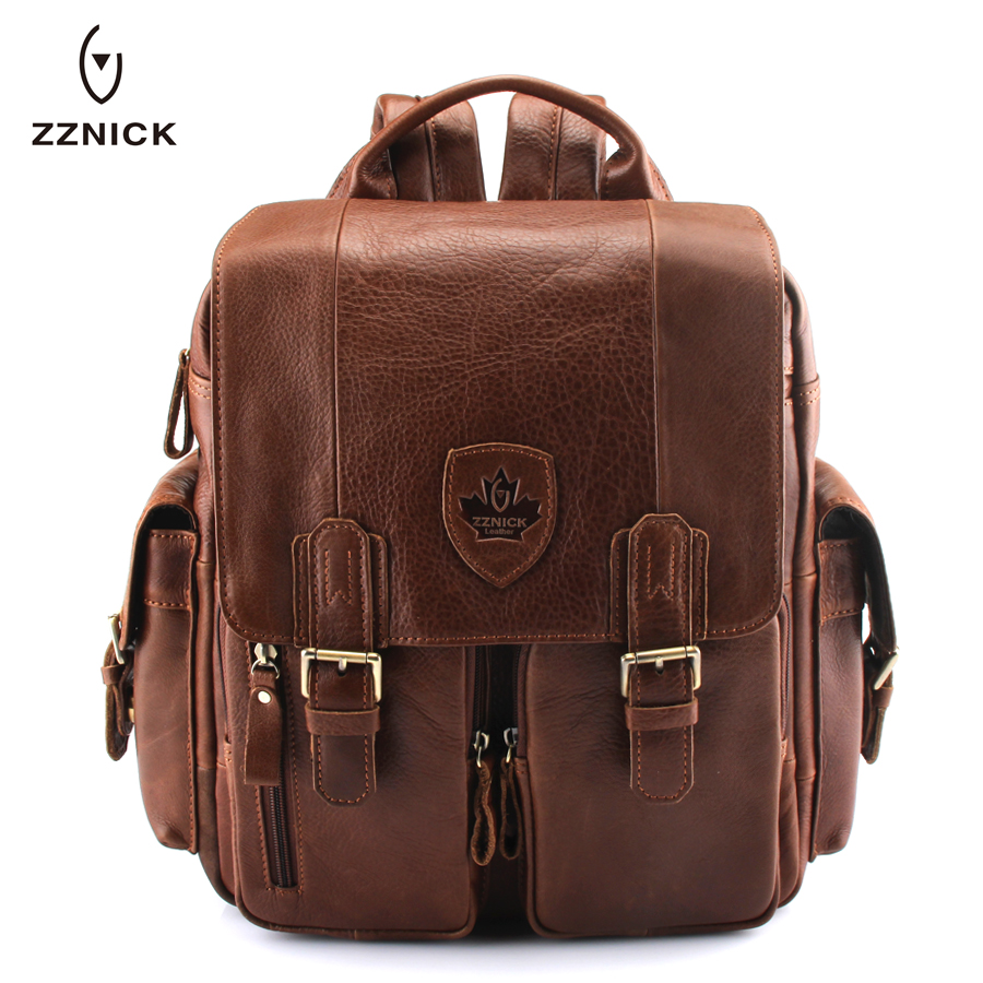 High Class Oil Waxed Genuine Leather Men Backpack Leather Travel Backpack men School Backpack male Mountaineering Bag Khaki male classic microfiber leather backpack