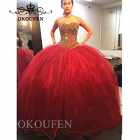 Sparkling Beads Quinceanera Dresses 2019 Ball Gown Crystal Red Long Vestidos De 15 Anos Sweet 16 Prom Dress Pageant Gowns