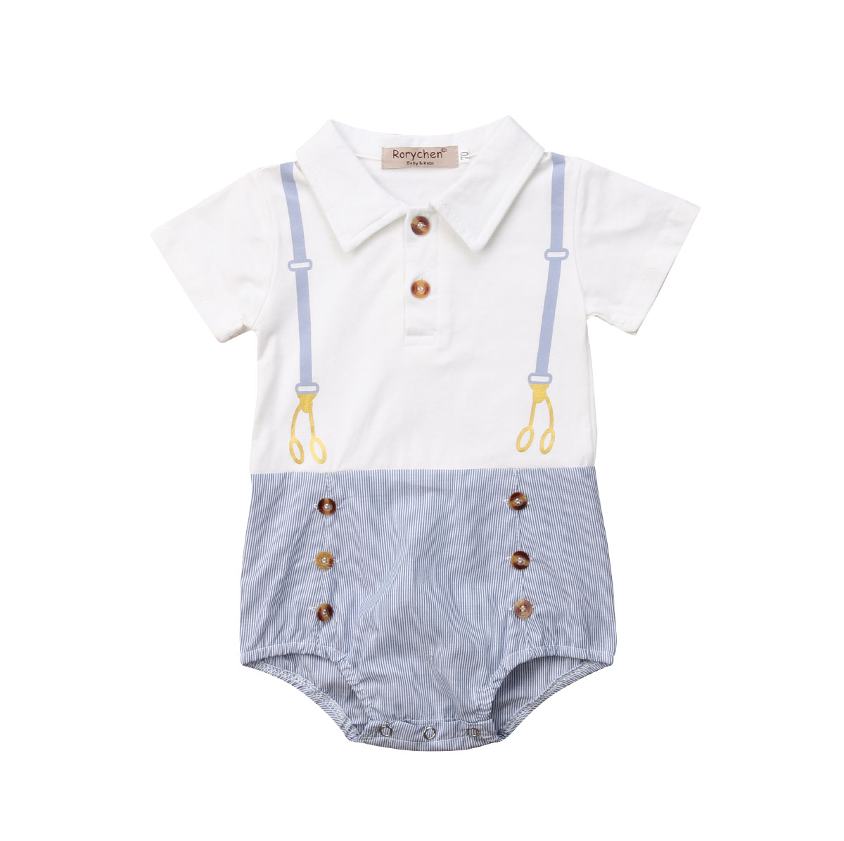 <font><b>Newborn</b></font> Toddler Infant <font><b>Baby</b></font> Kid Boy Girl Clothes Gentleman <font><b>Bodysuits</b></font> <font><b>Short</b></font> <font><b>Sleeve</b></font> <font><b>Cotton</b></font> Cute Outfits Clothing <font><b>Baby</b></font> Boys 0-24M image