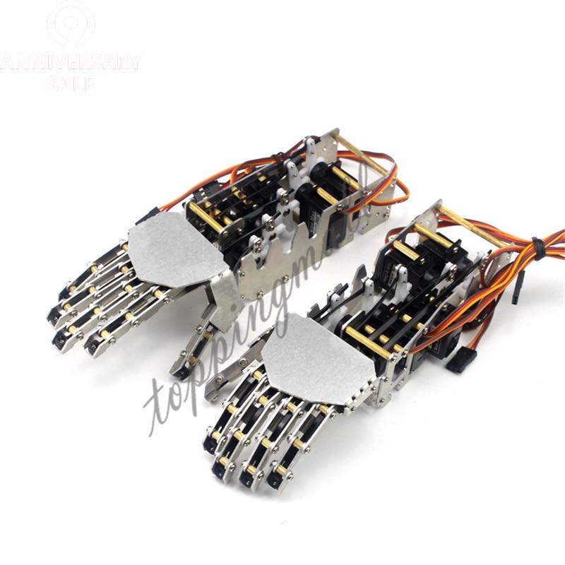 5DOF Robot humanoidalny metalowy Manipulator pięć palców antropomorficzne lewy + prawy ręcznie z GS9018 serwo 50% OFF w Części i akcesoria od Zabawki i hobby na  Grupa 1