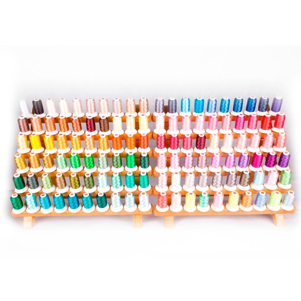 Simthread popular 120 cores poliéster máquina de bordado linha 1100 jardas cada um como casa máquina bordado/acolchoado linha