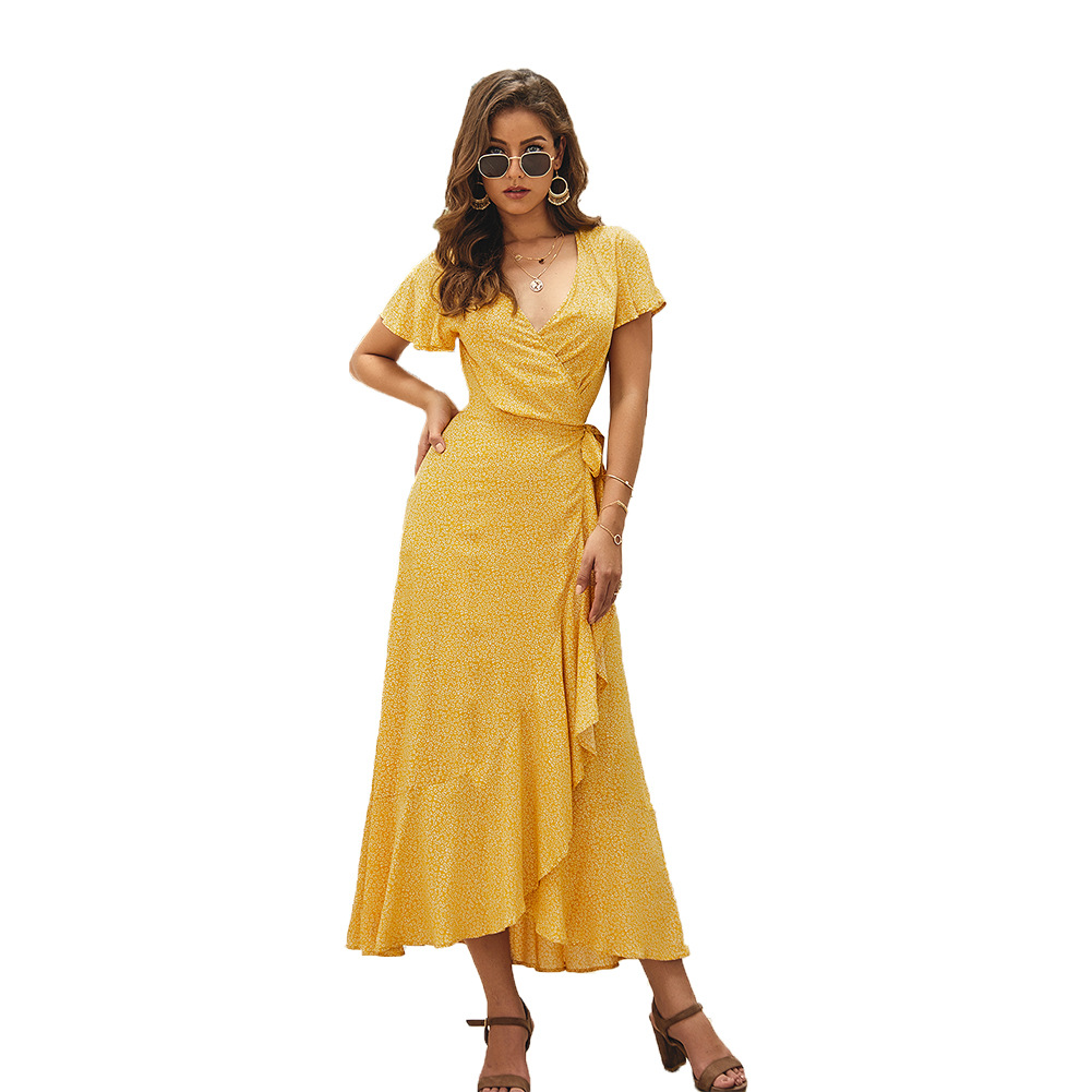 summer dress 2019 New Casual wrap dress women fashion dress Maxi Floral Boho bandage Dress women party sexy office dress in Dresses from Women 39 s Clothing