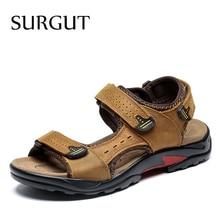 SURGUT Brand Men Summer Fashion Sandals Beach Shoes Genuine Leather Comfortable Casual Shoes Men Roman Style Big Size 38 48