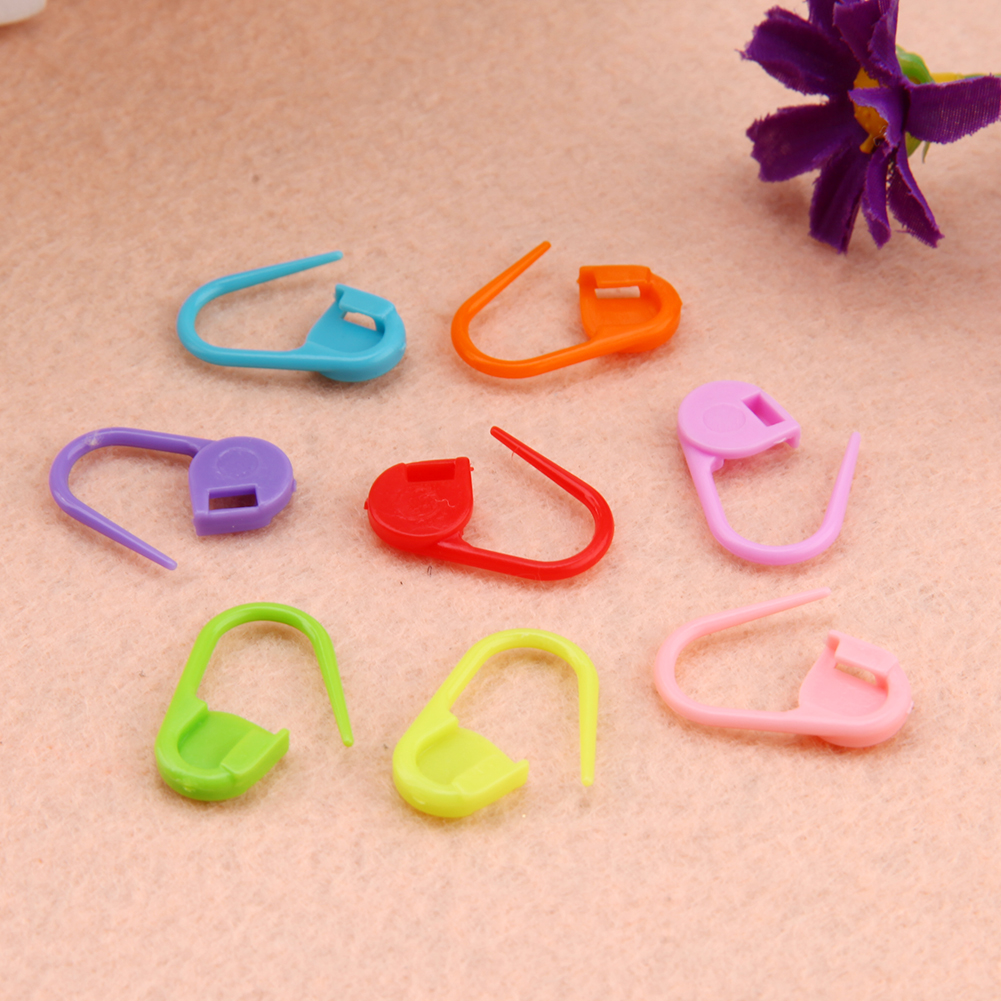 100pcs Colorful Safety Pins Locking Stitch Marker Lock Pins Plastic Ring Marker for Knitting Gehaakte Locking Tool Decor Craft