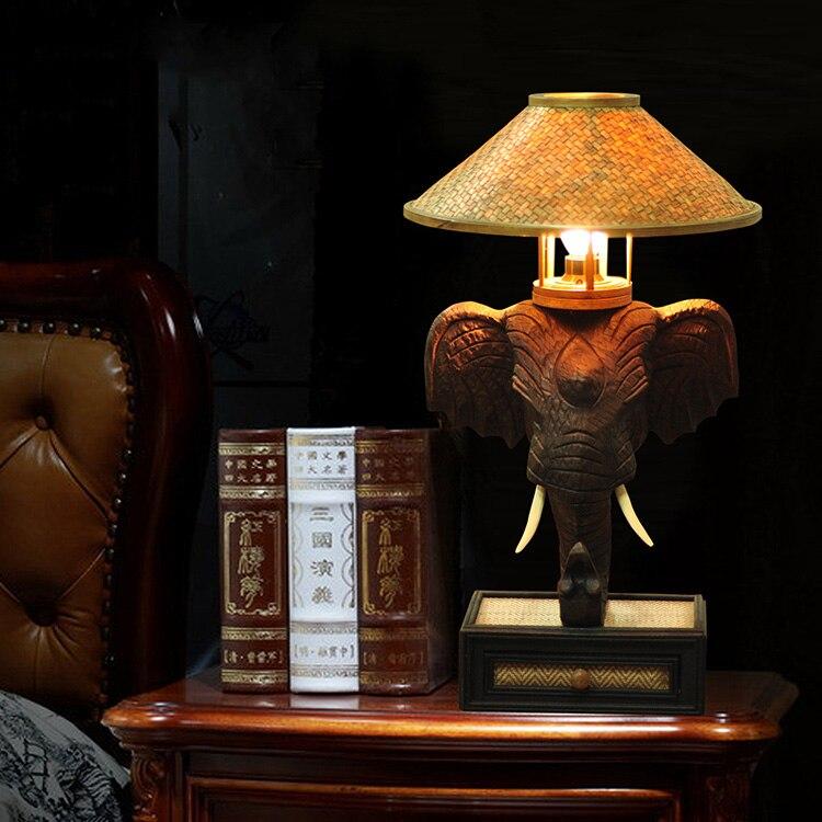 Asie du sud-est lampe de table éléphant chambre lampe de chevet Thai personnalité créative rétro bar lampes de Table TA9186