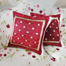 1/12 Scale Red Pillow Cushion For Doll House Sofa Couch Miniature Bedroom Furniture Accessories Decor 4x4cm(China)