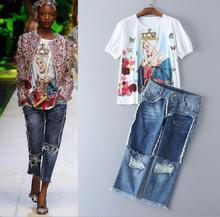 European&American style Embroidery T-shirt sequins broken hole low waist jeans 2017 Runway denim pantsuits calf-length pants