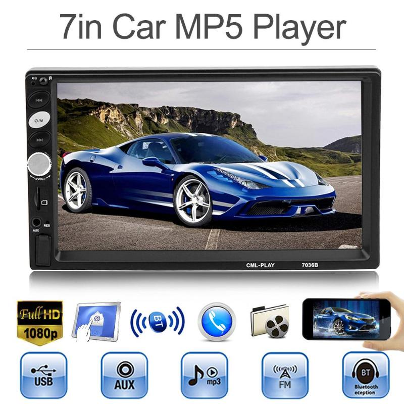 2 Din 7 Touch Screen Car Stereo MP3 MP5 Player FM Radio Bluetooth Auto Audio Video
