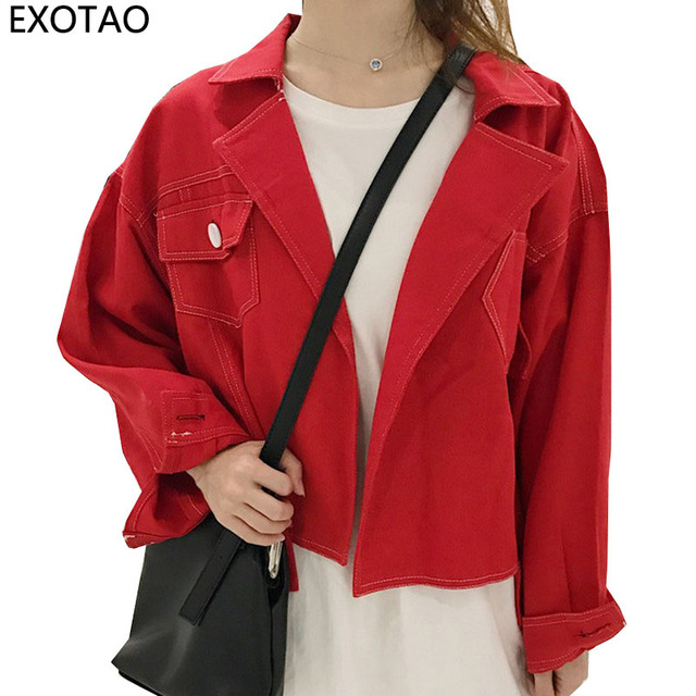 7a982783ad0b2 EXOTAO Personality Red Jeans Jackets for Women Streetwear Oversized Denim  Casacos Long Sleeve Turn-down Neck Jaqueta Coat