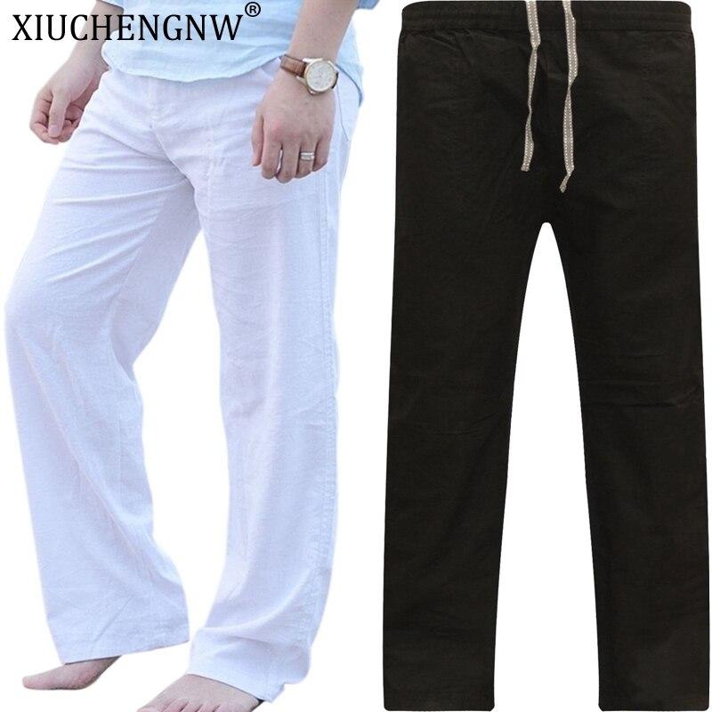 Linen Pants Trousers Mens Summer Casual Elastic Waist Loose Male Solid Straight Pants Plus Size 3XL Beachwear Joggers Sweatpants
