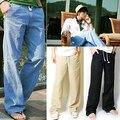 Мужская Мода Случайные Свободные Шнурок Талии Твердые Льняные Брюки Пляж Брюки