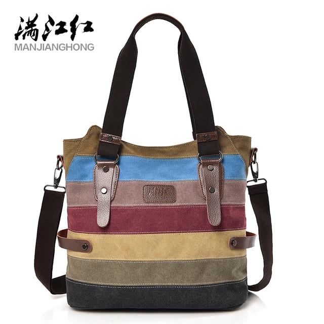 3abfdc6f0ac6 MANJIANGHONG Casual Totes Ladies Canvas Bag Personality Fashion Patchwork Handbag  Large Capacity Women Shoulder Messenger Bag