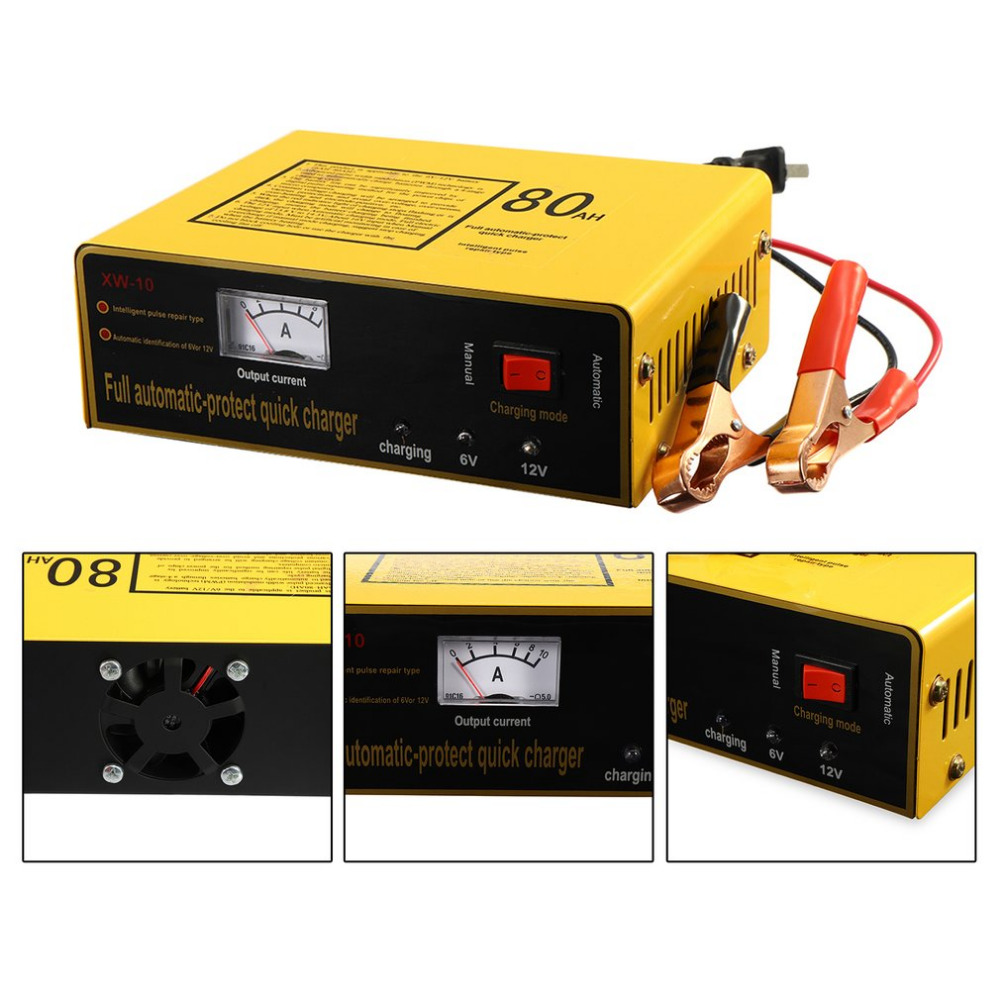 140W 80AH Automatic Intelligent Car Battery Charger Full Automatic-protect Quick Charger 6V/12V Negative Pulse
