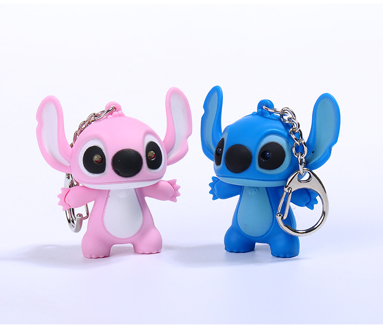 Lilo stitch LED Flashlight Keychain with Sound,Say I love you Funny cute key rings Children toys gift,Valentine gift bag pandent image