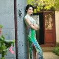 Free Shipping Chinese qipao dress Handcraft Chinese Hand-Made Painted Blend Silk Cheong-sam Long Evening Dress Cheongsam