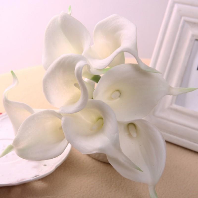 nuevo blanco elegante lirio artificial de ltex real touch ramos de flores casa nupcial de la
