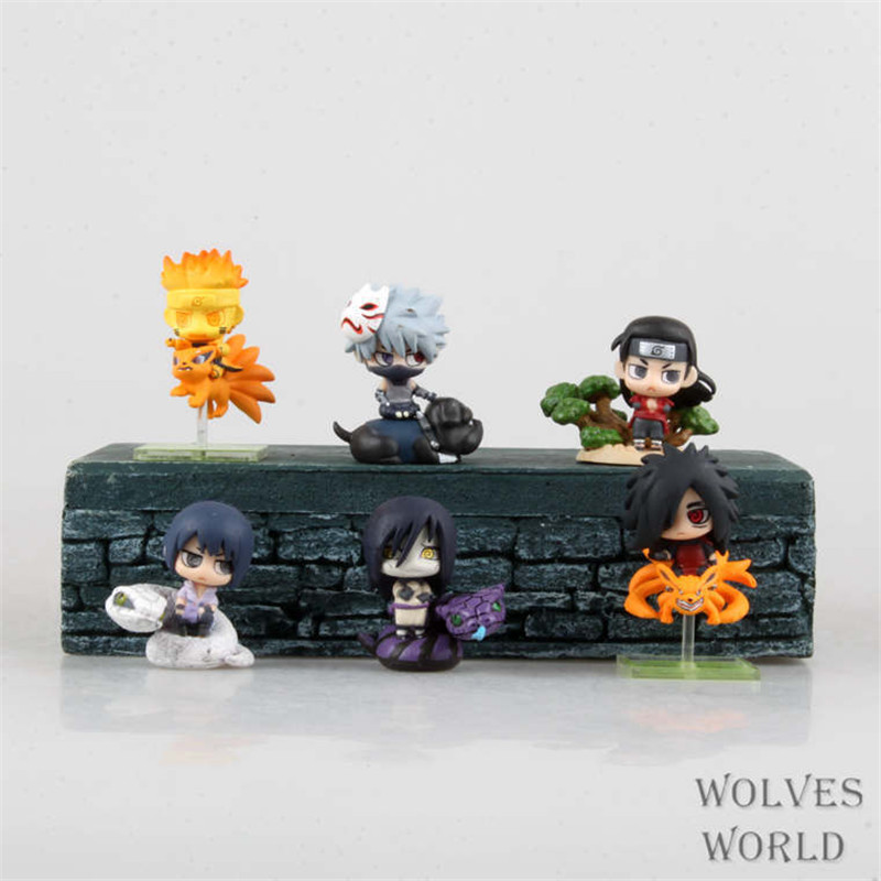 WVW 6pcs/Set Anime Q version Naruto Uzumaki Naruto Orochimaru Madara Model PVC Toy Action Figure Decoration For Collection Gift anime naruto pvc action figure toys q version naruto figurine full set model collection free shipping