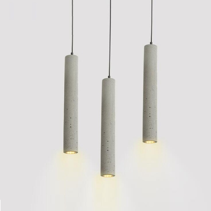 1 Pc LukLoy Modern Pendant Lights Industrial Lamp Concrete Cement Cylinder Pipe Kitchen Lights Shop Bar Counter Island Lighting