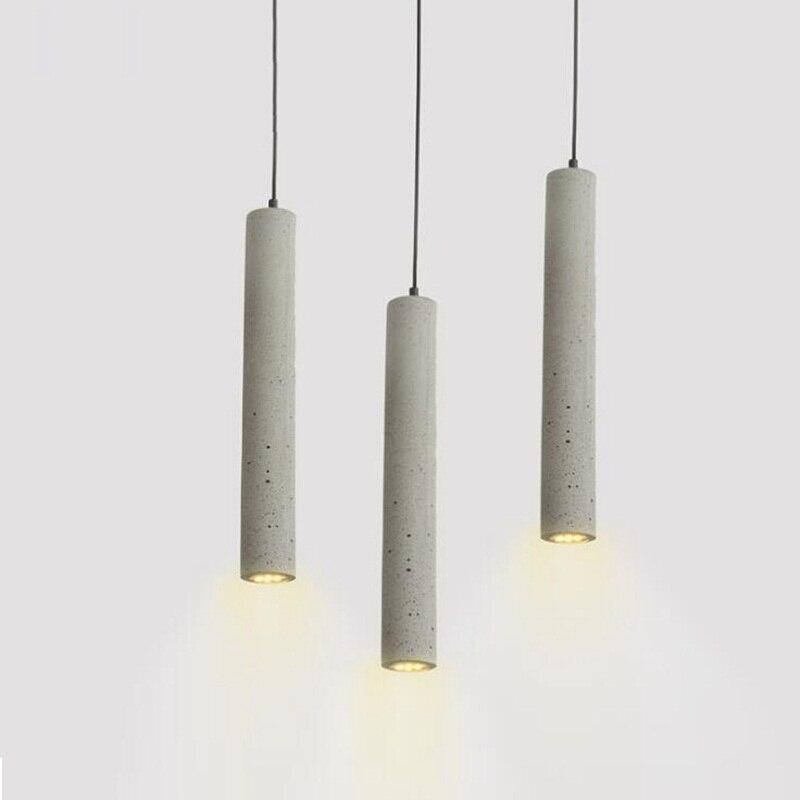 1 pc LukLoy moderne pendentif lumières lampe industrielle béton ciment cylindre tuyau cuisine lumières boutique Bar comptoir île éclairage