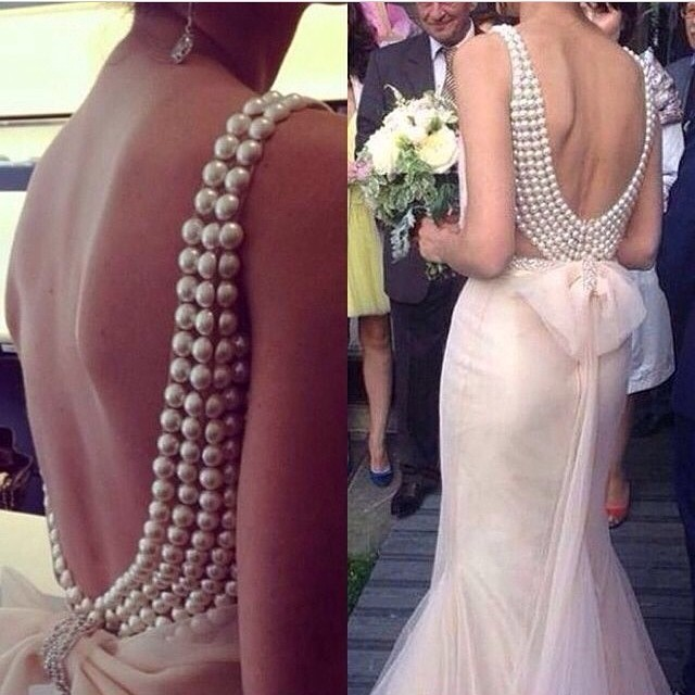Exquisite pearls mermaid New design sexy beautiful beaded back bow knot gown custom made elegant mother of the bride dresses