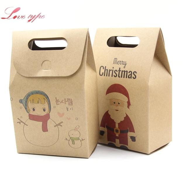 10PCS/Lot Kraft Paper Candy Boxes Kids Christmas Gifts Supplies ...