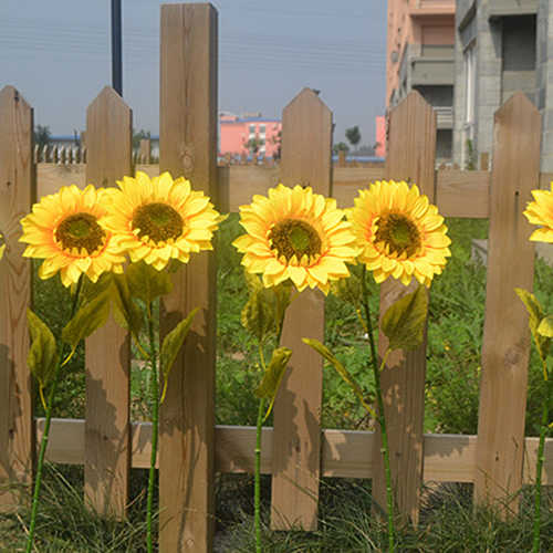 1Pc Artificial Sunflower Home Garden Fence Park Decoration Vibrant Fake Flower Vivid Big Flowers Big Bloom with 4 Leaves