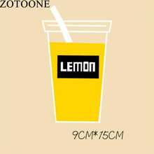 ZOTOONE Drink Cup Letter Patch Applique Patch Heat Thermal Transfer Iron On Patches For Clothing T-shirt DIY Washable Patches D1
