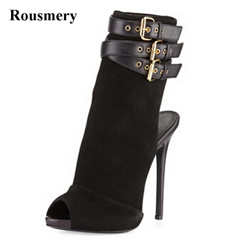Open Toe Women Fashion Suede Leather Buckle Design Ankle Boots Super High Back Cut-out Gladiator Short Boots Formal Dress Shoes