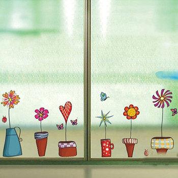 Uroczy kwiat naklejka ścienna kuchnia okno naklejki motyle naklejki ścienne Home Decor łazienka naklejki ścienne winylowe dekoracje do pokoju dziecięcego tanie i dobre opinie ZOOYOO CN (pochodzenie) Płaska naklejka ścienna cartoon For Wall Naklejki na meble Do płytek naklejki okienne Do zabudowanej kuchenki