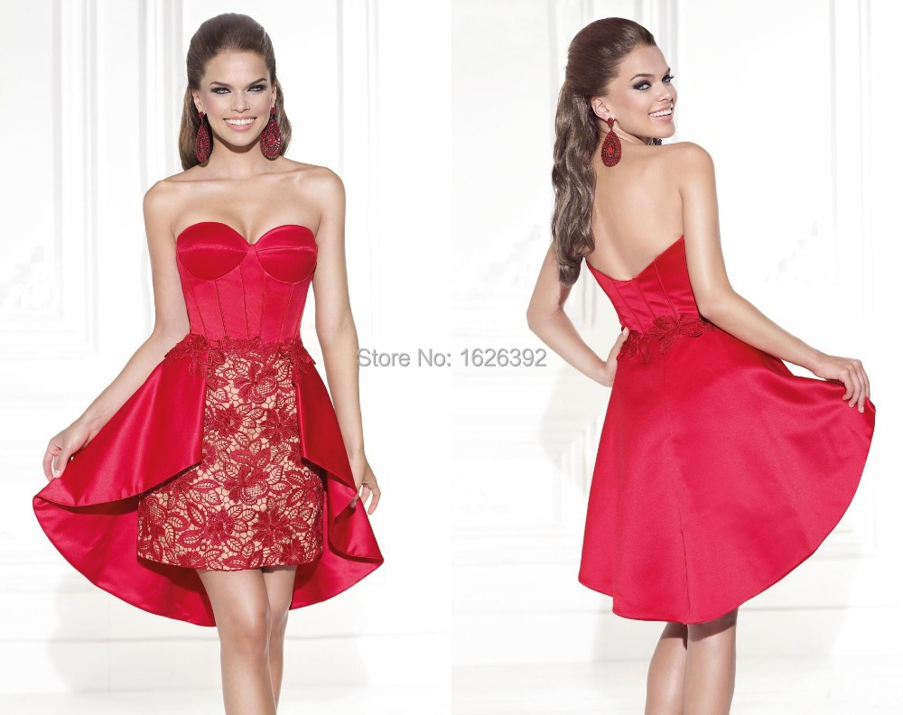 Fashion Short Red Cocktail Dresses Lace Sweetheart Plus