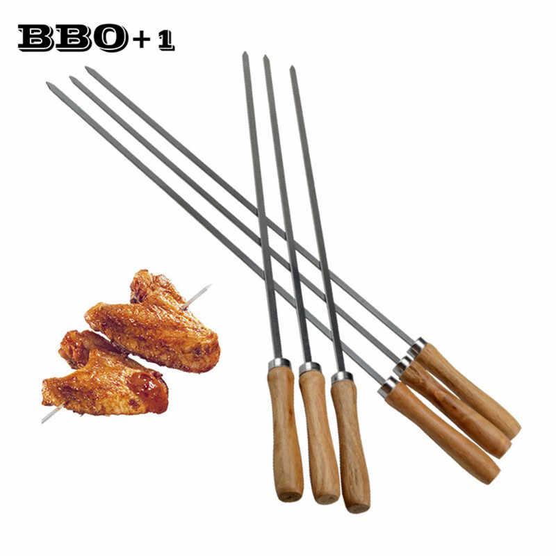 Espetos de madeira para churrasco de aço inoxidável churrasqueira agulha de madeira lidar com garfo para churrasco carne longa plana kabob espeto churrasco ferramenta 16.5in 42cm