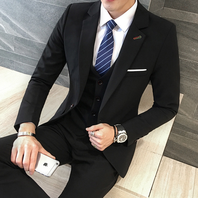 3 Pieces Black Suit Latest Coat Pant Designs Suit Men New Arrival Slim Fit Wedding Dress One