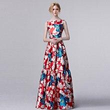 Coniefox new 2016 Verão Mulheres Elegante Designer de Vestido de Baile Do Vintage Retro Floral Impressão Vestido Da Celebridade Vestido De Festa 31309(China (Mainland))