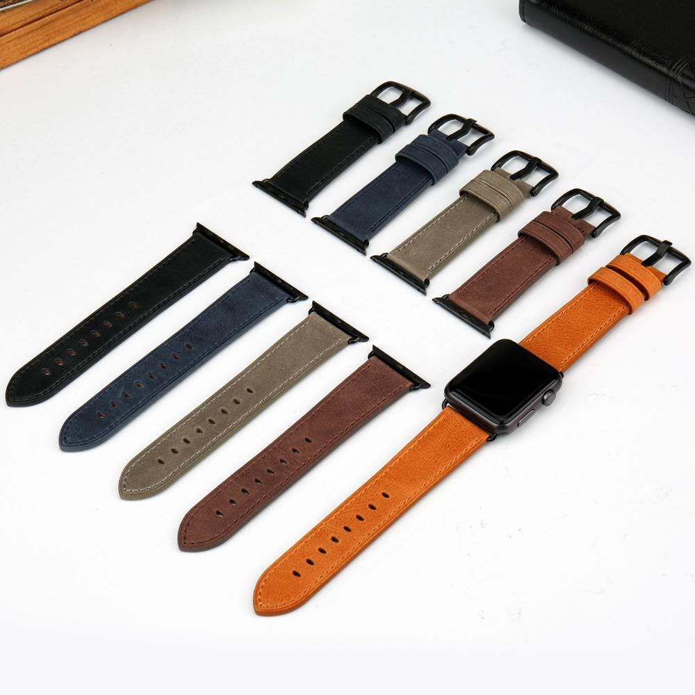 MAIKES Genuine Leather Apple Watch Accessories Watchband for Apple Watch Bands 44mm 40mm Series 4 3 2 1 Watch Strap 44mm 38mm in Watchbands from Watches