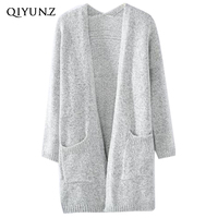 Light Grey Long Cardigans Women V Neck Knitted Solid Color Sweater Casual