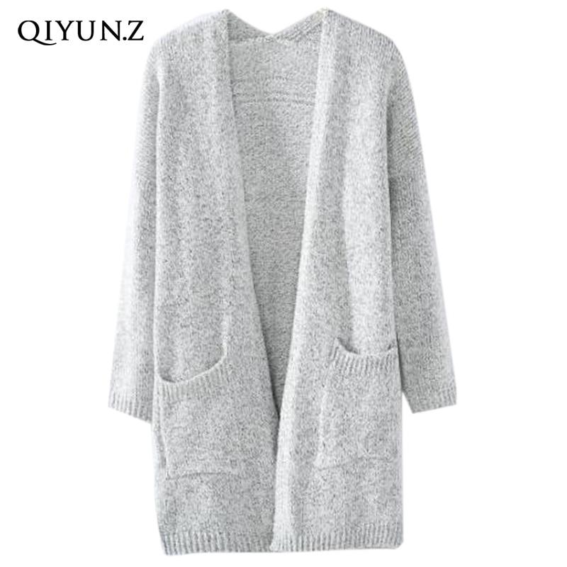 2017 New light grey long cardigans women fashion v neck knitted ...