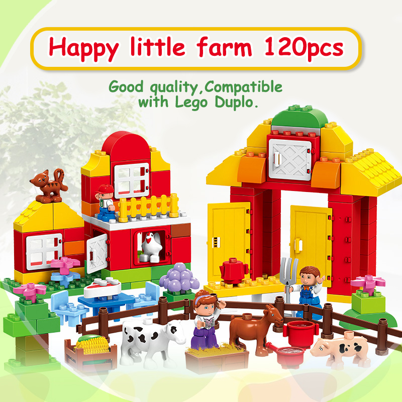 120PCS Farm building blocks DIY toys Early Learning self-locking bricks baby educational toys compatible with Duplo Play House цены онлайн
