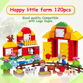 120PCS Farm building blocks DIY toys Early Learning self-locking bricks baby educational toys compatible with dduplo Play House