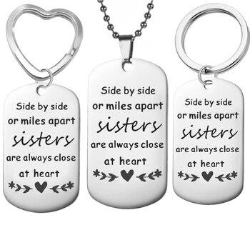Colgante de acero inoxidable para hermana, colgante hermana I love my colgante hermana, collar de regalo de joyería