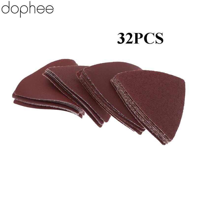 Dophee 32pcs Triangular Sanding Paper Grit 60/120/180/240# For Multifunction Power Tool As Fein Multimaster Dremel Tools 83mm