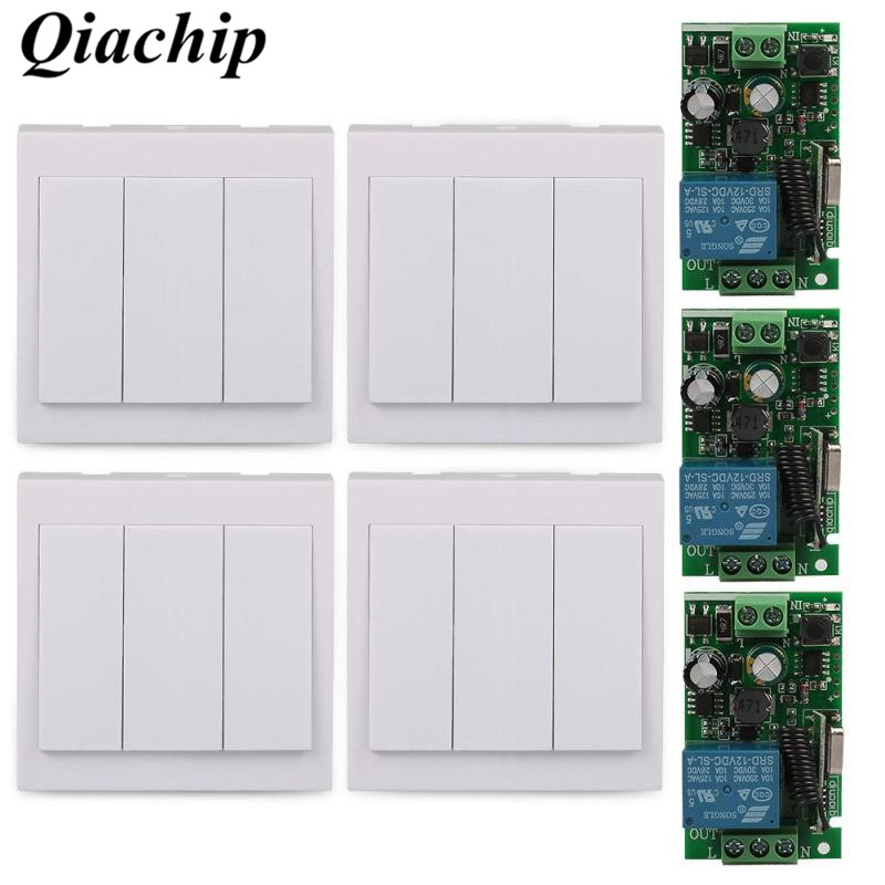 QIACHIP 433Mhz 3CH 86 Wall Panel Transmitter Relay Remote Control Switch 1CH RF Receiver AC 110V 220V Ceiling Lamp Light C
