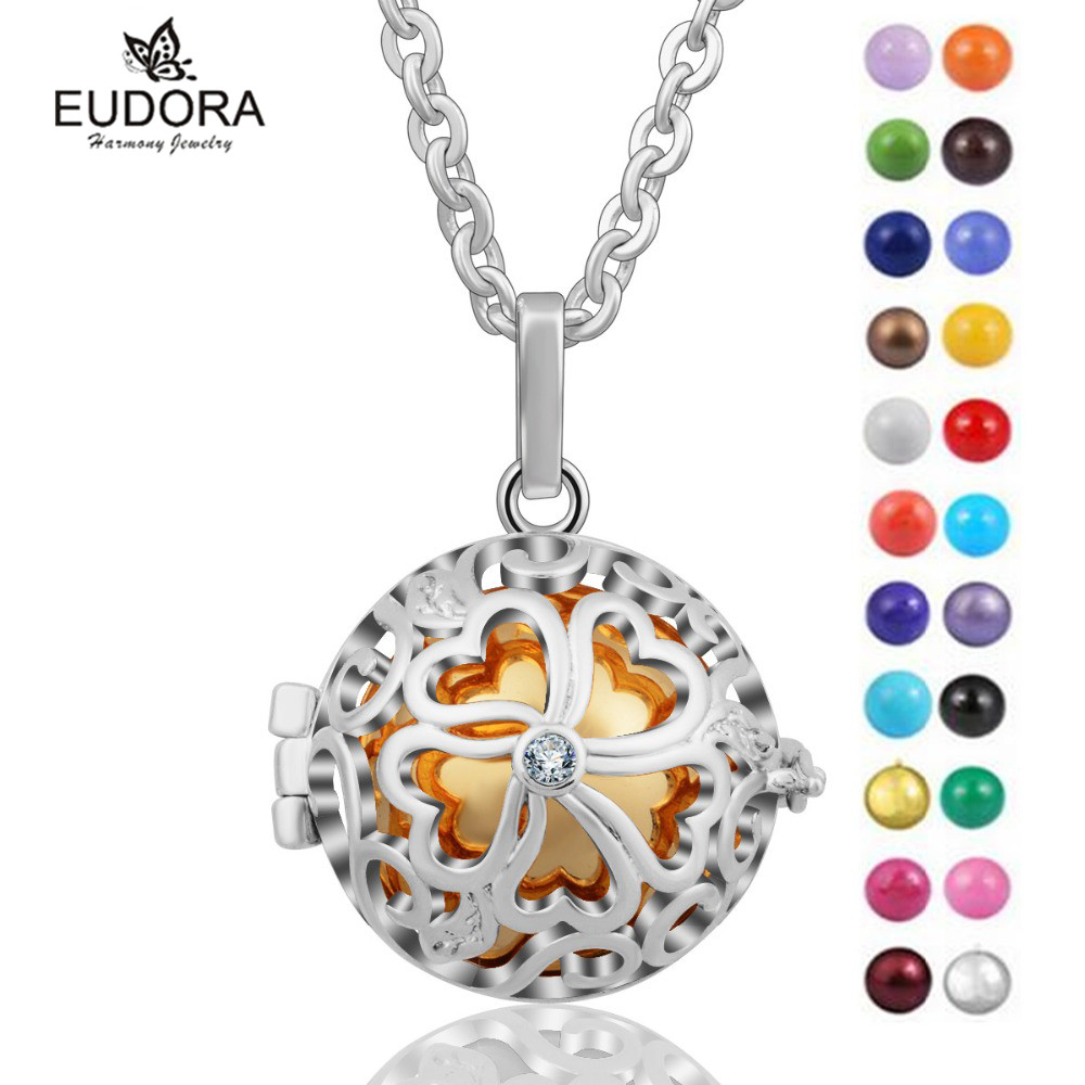 Angel Caller Lucky Flower Locket Cage Colorful Chime Mexican Bola Angel Caller Pendants Necklace Pregnant Women Jewelry