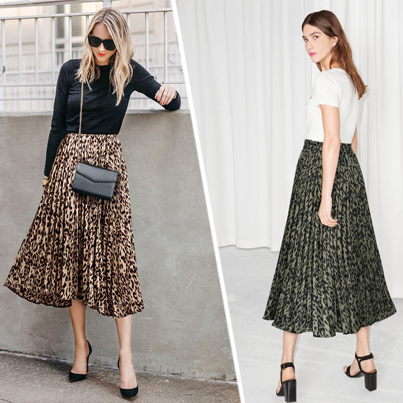 2019 European Sexy Leopard Skirt For Women's A Line Printing Lace Long Skirts Female All-Match Ladies Beach Skirt Xxxl Plus Size