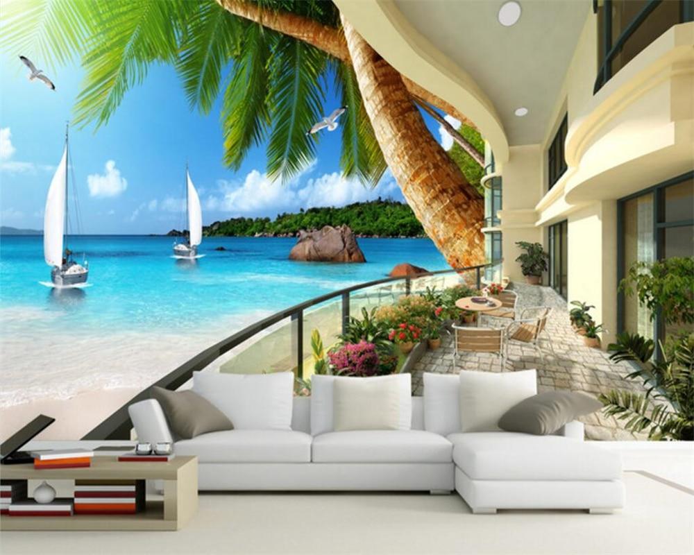 Beibehang Custom Wallpaper Hawaii Resort Balcony Seascape